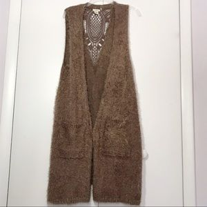 Escio Taupe Duster Sweater Vest W/Lace Inlay NWOT
